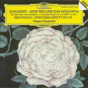 Beethoven: String quartets op.135; Schubert: String quartet D.810 Death & Maiden, Hagen Quartet, CD cover