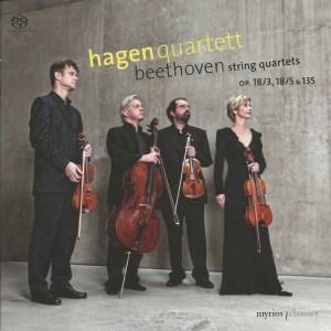 Beethoven, string quartets opp.18/3, 18/5 & 135, Hagen Quartett, CD cover