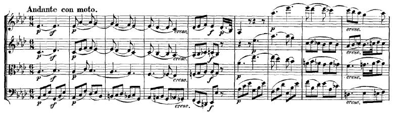 Mozart: String quartet K.428, mvt.2, score sample