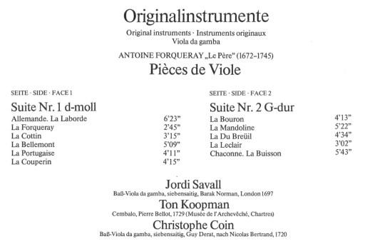 Antoine de Forqueray: Pièces de viole, Savall, LP cover, track listing