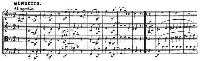 Beethoven, string quartet op.18/4, mvt.3, score sample, Menuetto