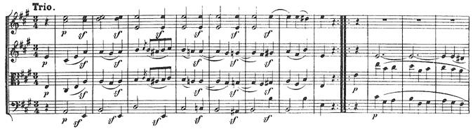 Beethoven, string quartet op.18/5, mvt.2, score sample, Trio