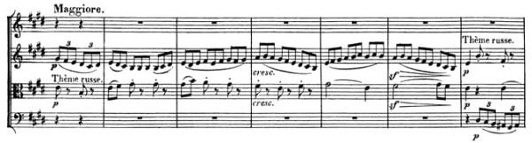 Beethoven, string quartet op.59/2, mvt.3, score sample, Maggiore (Thème Russe)