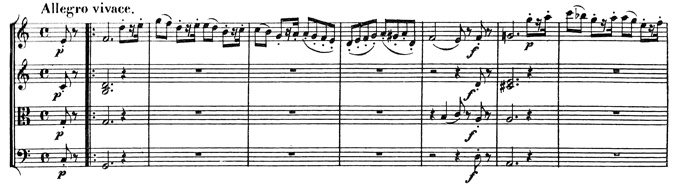 Beethoven, string quartet op.59/3, mvt.1, score sample, Allegro vivace