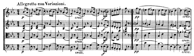 Beethoven, string quartet op.74, mvt.4, score sample