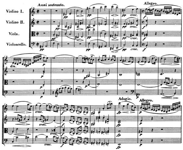 Beethoven, string quartet op.132, mvt.1, score sample