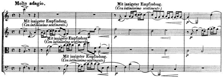Beethoven, string quartet op.132, mvt.3, score sample, Mit innigster Empfindung