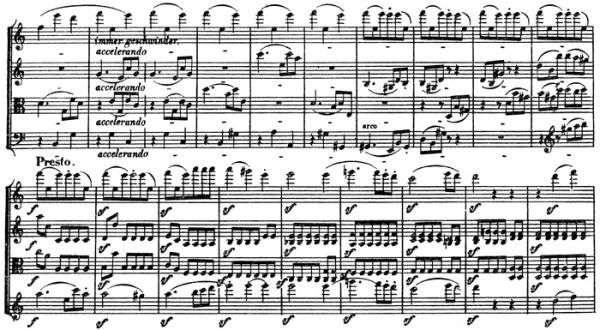 Beethoven, string quartet op.132, mvt.5, score sample, Presto