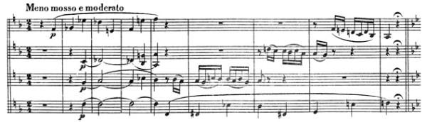 Beethoven, string quartet op.133, Great Fugue, score sample, Meno mosso e moderato