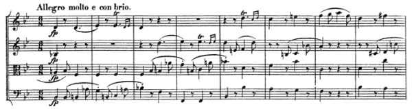 Beethoven: Great Fugue op.133, score sample, Allegro molto e con brio (II)