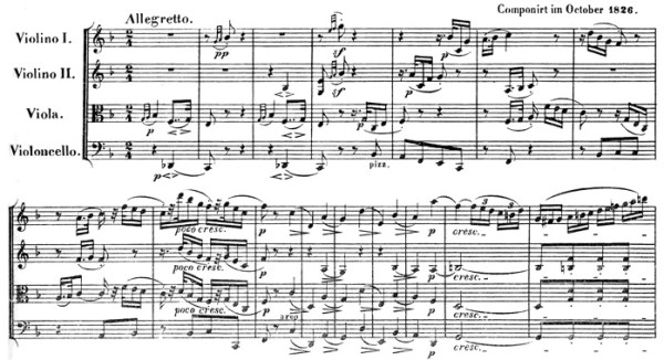 Beethoven, string quartet op.135, mvt.1, score sample, Allegretto