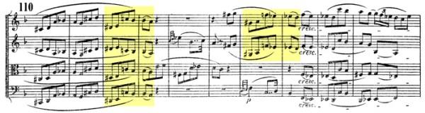 Beethoven, string quartet op.135, mvt.1, score sample, allusion to Great Fugue