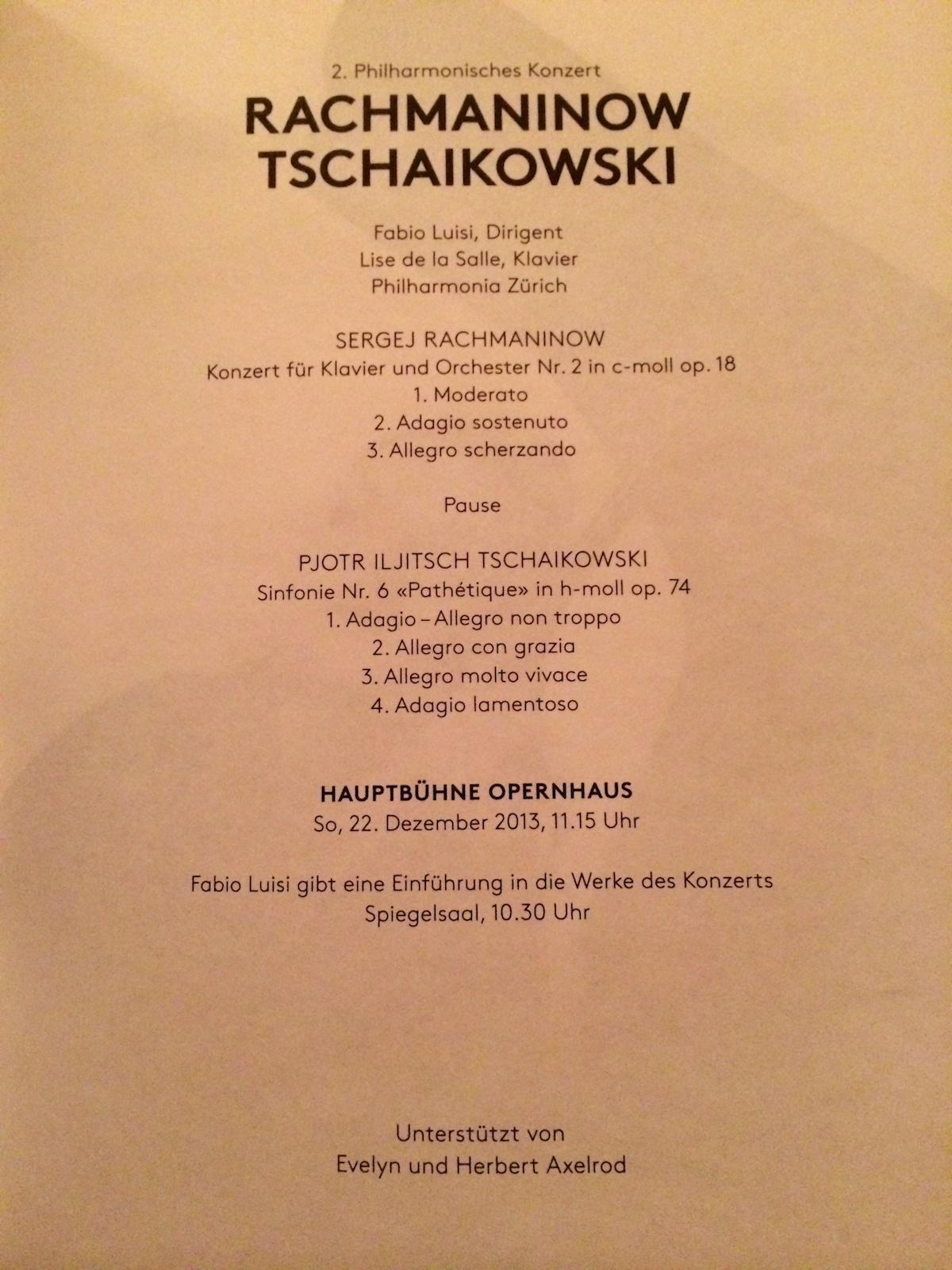 Zurich Opera 2013-12-22, concert program