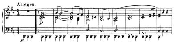 Beethoven, piano sonata No.15 D major, op.28: mvt 1, theme #1, score sample