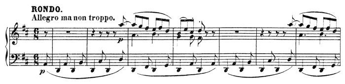 Beethoven, piano sonata No.15 D major, op.28: mvt 4, score sample