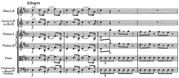 Mozart: Symphony No.4 in D, K.19 —score sample, mvt.1 (NMA)