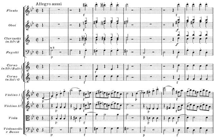 Mozart: Symphony No.40 in G minor, K.550 (version 2) —score sample, mvt.4