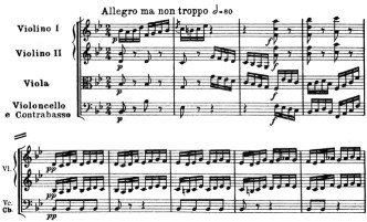 Beethoven, Symphony No.4 B♭ major op.60, score sample, mvt.4