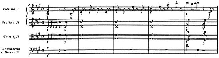 Mozart: Violin Concerto No.5 in A, K.219 —score sample, mvt.1, beginning