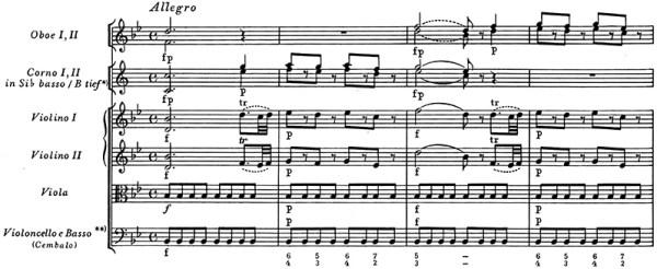 Mozart: Symphony No.5 in B♭, K.22 —score sample, mvt.1, theme