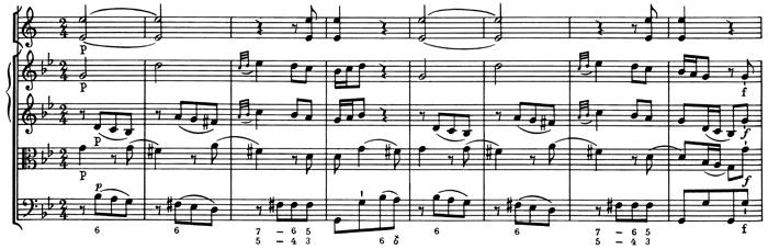 Mozart: Symphony No.5 in B♭, K.22 —score sample, mvt.2, theme