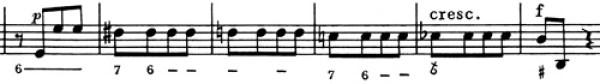Mozart: Symphony No.5 in B♭, K.22 —score sample, mvt.2, lamento bass