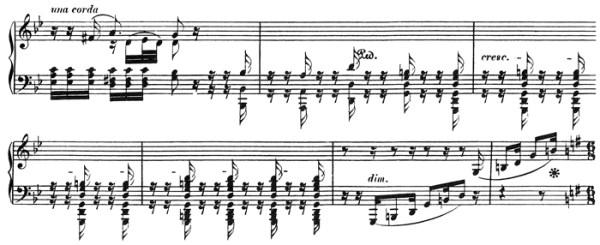 """Beethoven: Piano Sonata in A♭ major, op.110, score sample: movement #3, transition into """"inversione della Fuga"""""""