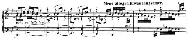 Beethoven: Piano Sonata in A♭ major, op.110, score sample: movement #3, inversione della Fuga, Meno Allegro