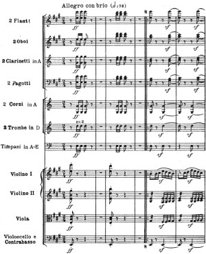 Beethoven: Symphony No.7 in A major, op.92, score sample: movement #4, Allegro con brio