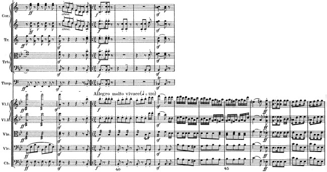 Schumann: Symphony No.1 in B♭ major, op.38, score sample: movement #1, Allegro molto vivace