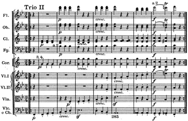 Schumann: Symphony No.1 in B♭ major, op.38, score sample: movement #3, Scherzo, Trio II