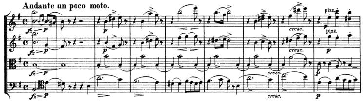 Schubert, String Quartet No.15 in G, D.884, score sample, mvt.II