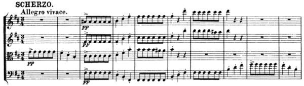 Schubert, String Quartet No.15 in G, D.884, score sample, mvt.III, Scherzo