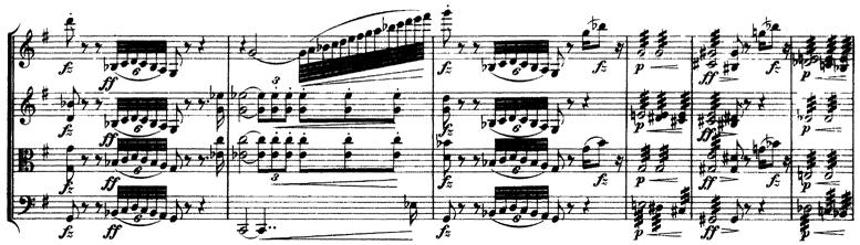 Schubert, String Quartet No.15 in G, D.884, score sample, mvt.II, dramatic part