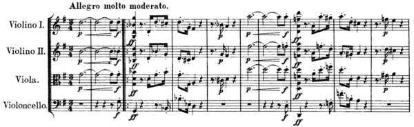 Schubert, String Quartet No.15 in G, D.884, score sample, mvt.I, beginning