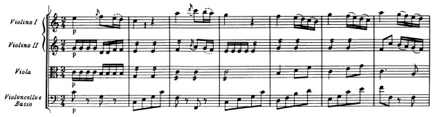 Mozart: Symphony in G major, K.129, score sample: movement #2, beginning