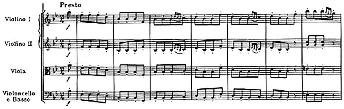 Haydn, Symphony No.68 in B♭ major, score sample, mouvement #4