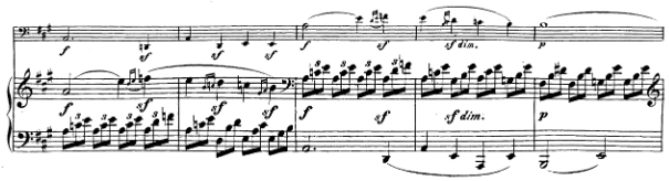 Beethoven, Cello Sonata in A major, op.69; score sample: movement I, theme 2