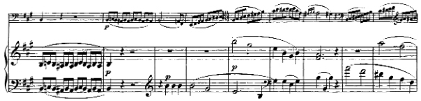 Beethoven, Cello Sonata in A major, op.69; score sample: movement I, theme 3