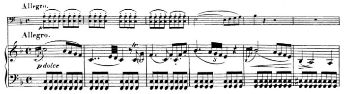 Beethoven, Cello Sonata in F major, op.5/1; score sample: movement 2, beginning