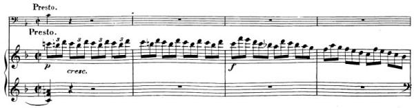 Beethoven, Cello Sonata in F major, op.5/1; score sample: movement 2, Presto