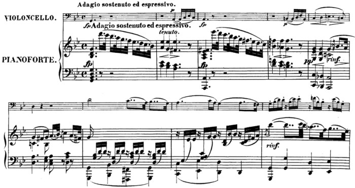 Beethoven, Cello Sonata in G minor, op.5/2; score sample: movement 1, Adagio