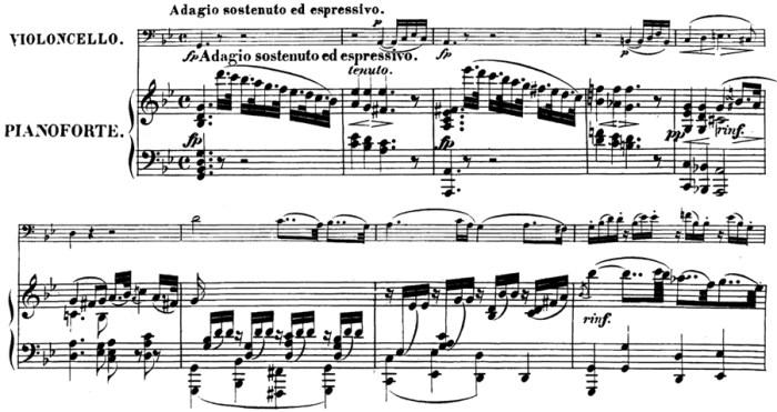 Beethoven, Cello Sonata in G minor, op.5/2; score sample: movement 1, Adagio