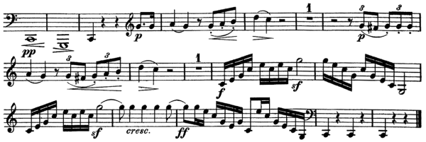 Beethoven, Sonata for Piano and Horn/Cello in F major, op.17; score sample: movement 1, last bars from horn part