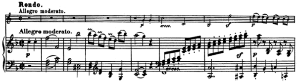 Beethoven, Sonata for Piano and Horn/Cello in F major, op.17; score sample: movement 3, Rondo: Allegro moderato
