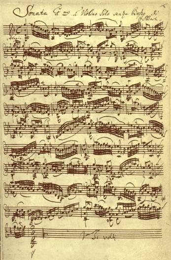J.S. Bach, Sonata BWV 1001, autograph (source: Wikipedia)