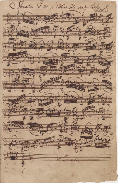Bach, Sonata in G minor, BWV 1001, Adagio, autograph 1720