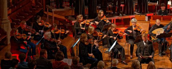 Ludwig Mittelhammer, Orchestra la Scintilla (violins, Hannah Weinmeister) @ St.Jakob, Zurich, 2019-04-17 (© Rolf Kyburz)