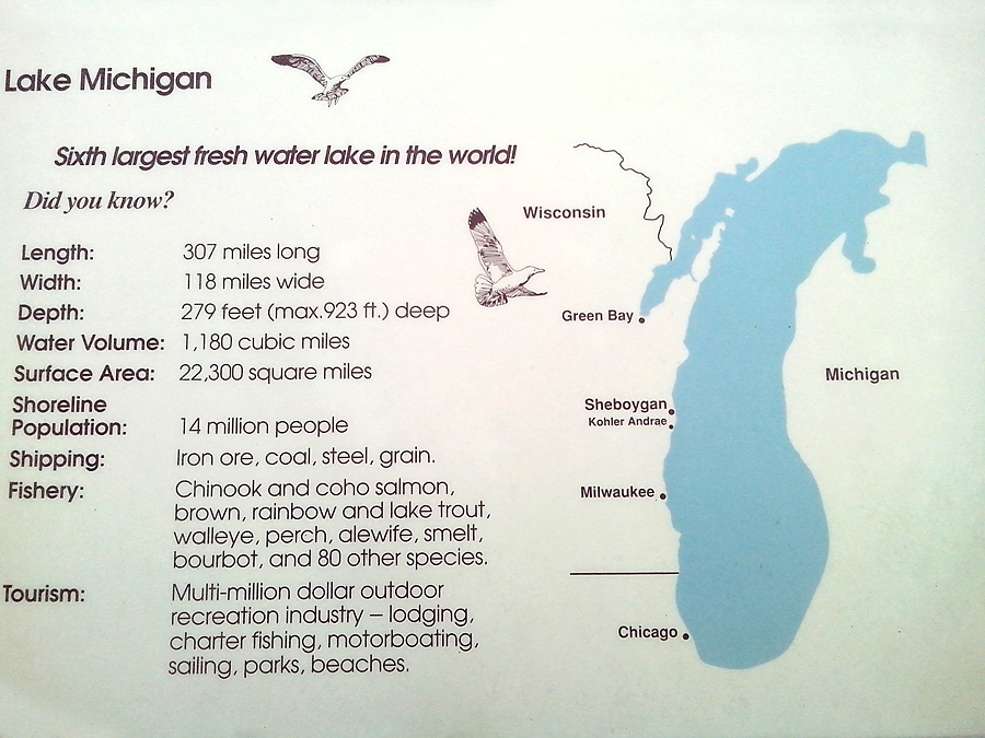 Sign on the shore of Lake Michigan