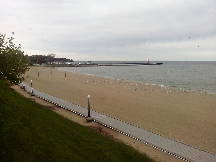 Algoma beach with boardwalk